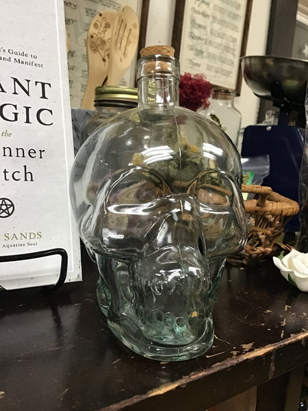 Clear Glass Skull Bottle with Cork - Tree Of Life Shoppe