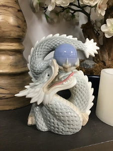 Vintage Blue Japanese Dragon Statue
