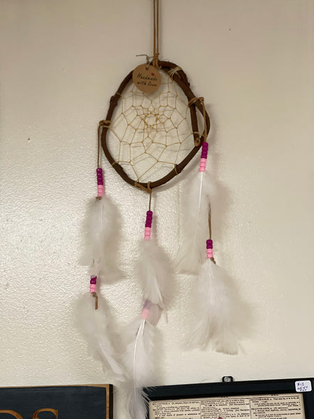 Small Vine Dream Catcher hot pink and light pink beads - Tree Of Life Shoppe