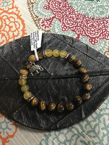 Brown Tiger Eye & Rutilated Quartz 8mm Bead Bracelet with Elephant Charm - Tree Of Life Shoppe