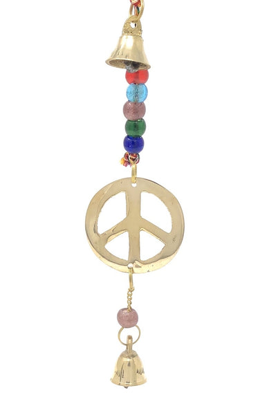 Brass Wind Chime String with Peace Sign - Tree Of Life Shoppe