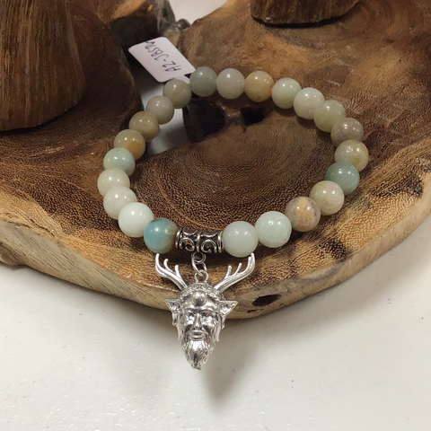 Amazonite 8mm Bracelet with Green Man Charm - Tree Of Life Shoppe