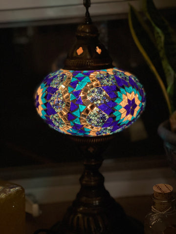 Turkish Style Hanging Table Lamp, Handmade Blues Star Globe