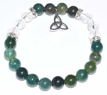Moss Agate & Quartz 8mm Bead Bracelet with Triquetra Charm - Tree Of Life Shoppe