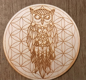 PERCHING OWL DREAM CATCHER FLOWER OF LIFE CRYSTAL GRID - Tree Of Life Shoppe