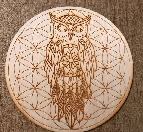 OWL DREAM CATCHER FLOWER OF LIFE CRYSTAL GRID