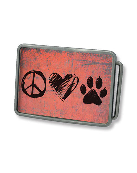 Peace, Love, Dog Belt Buckle (Pink)