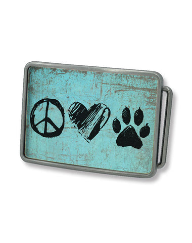 Peace, Love, Dog Belt Buckle (Turquoise)