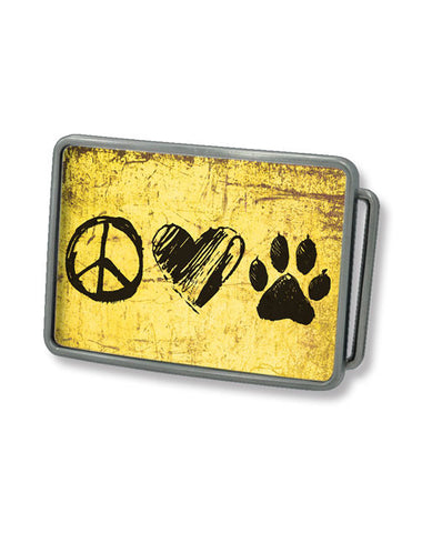Peace, Love, Dog Belt Buckle (Sun Yellow)