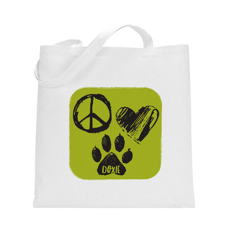 Wiener Tote - Peace, Love Doxie (Green)