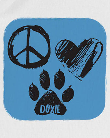 Wiener Tote Natural - Peace, Love Doxie (Blue)