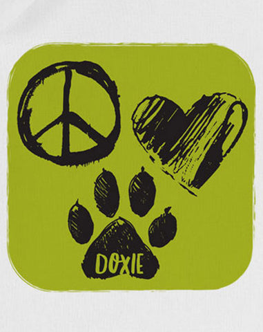 Wiener Tote Natural - Peace, Love Doxie (Green)