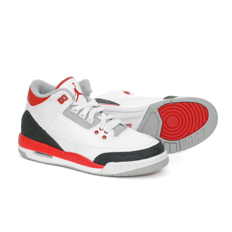 newest cb9af d71a3 Nike Air Jordan 3 III Retro 2013 (GS) White Fire Red (398614-120)