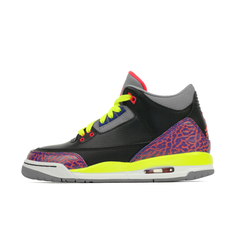 Nike Girls Air Jordan 3 III Retro (GS) Black Atomic Red Volt (441140-039)
