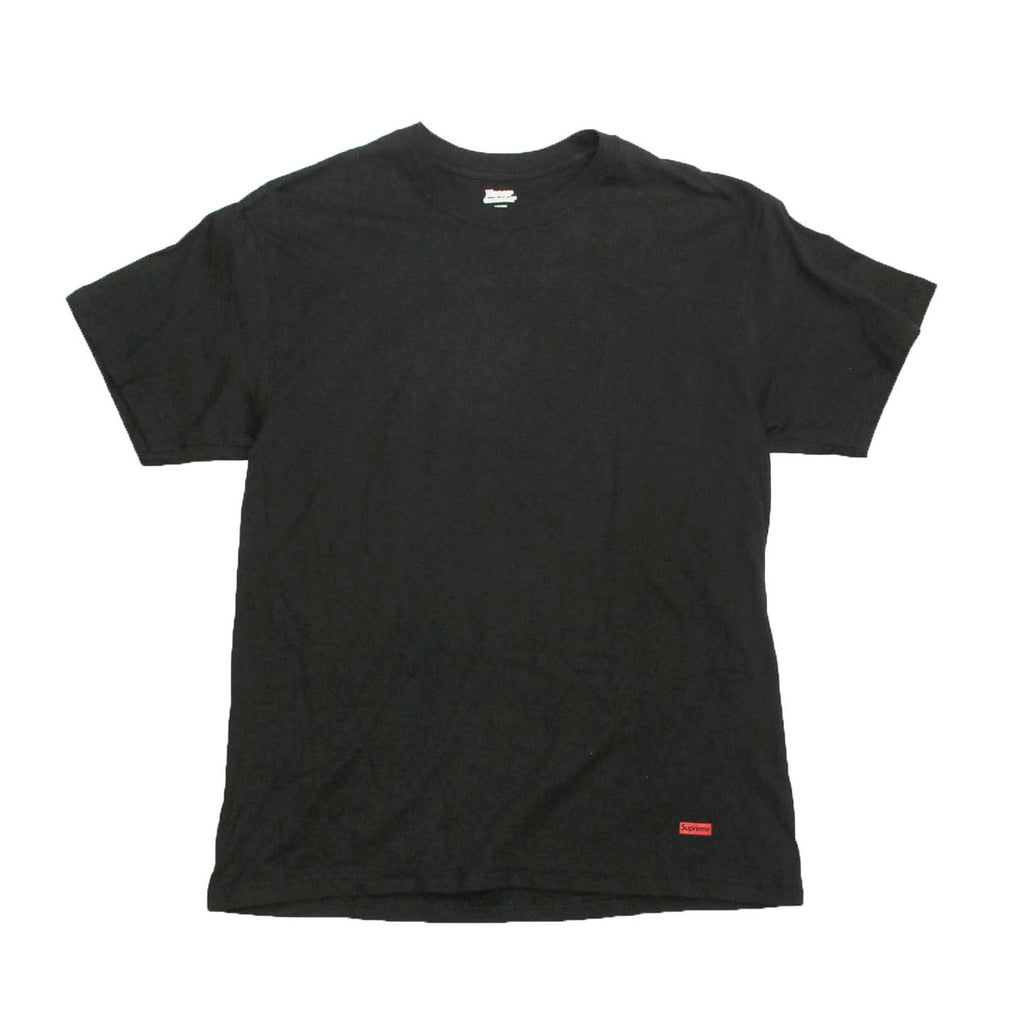 Supreme x Hanes Cotton Classic Tagless Crewneck Tees Black (For One)