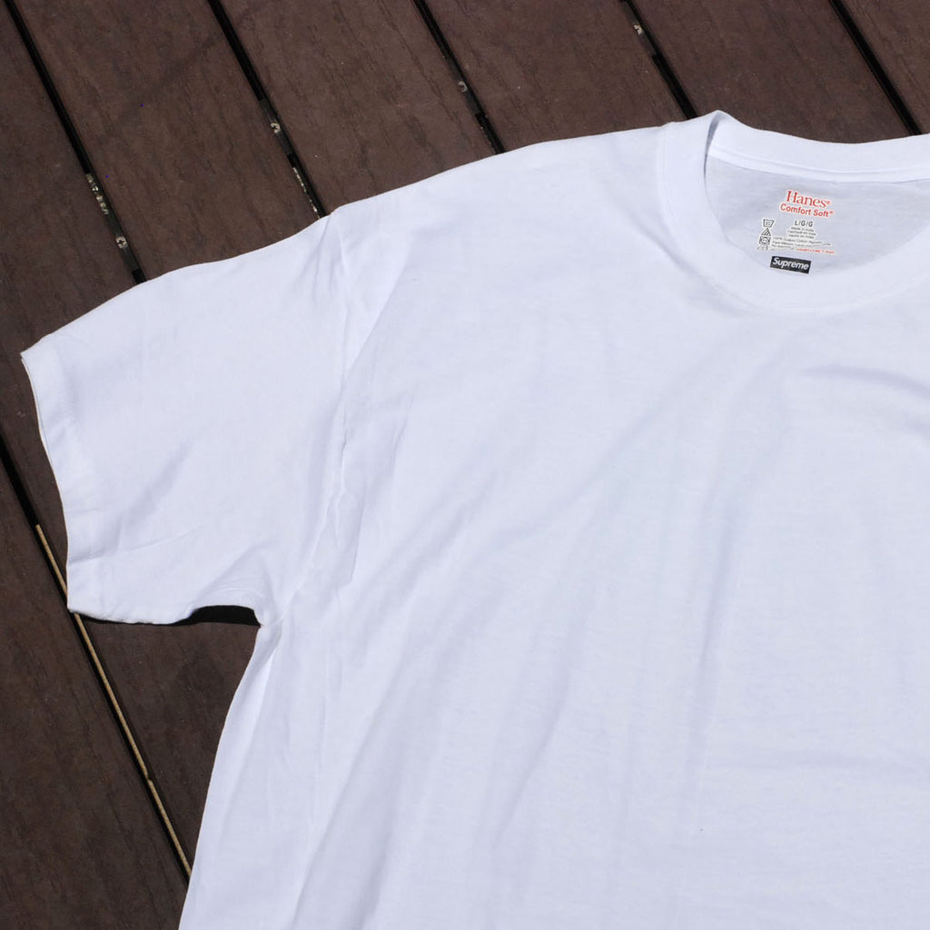Supreme x Hanes Cotton Classic Tagless Crewneck Tees White (For One)
