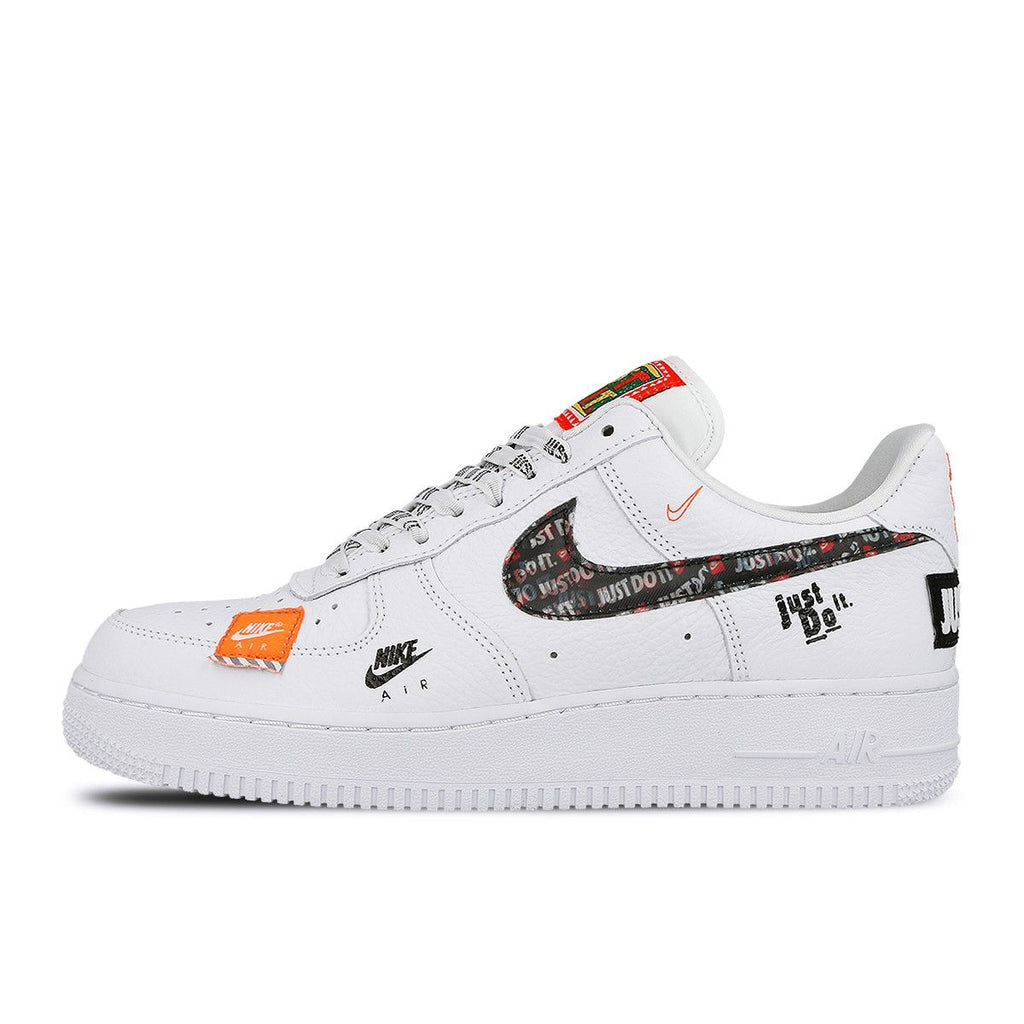 58d9fe56fefe79 Nike Air Force 1 `07 Premium Just Do It Pack Style  AR7719-100. Color  White  White-Black-Total Orange