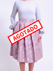 Falda Brocado Rosa