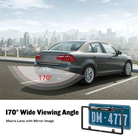 License Plate Frame 170 Degree Angle Rearview Camera