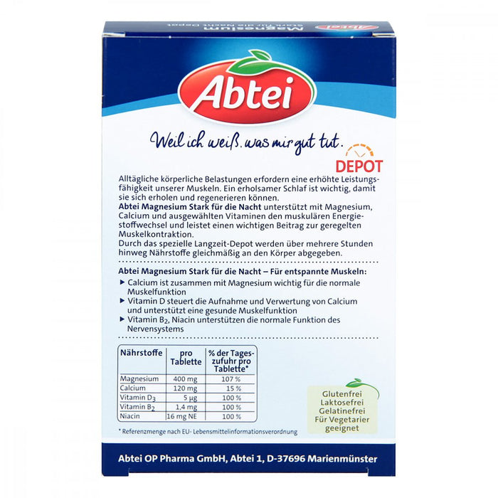 Abtei Magnesium Strong - Night Depot 30 tablets  back