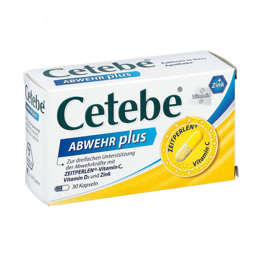 Cetebe Defense Plus Vitamin C + Vitamin D3 + Zinc Cape. 30 pcs