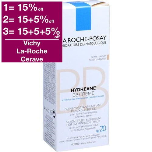 La Roche-Posay Hydreane BB Cream Medium 40ml is a BB & CC Cream
