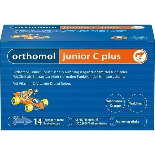 Old Packaging design - Orthomol Junior Vitamin C Plus Chewable Tab Forest Fruit and Mandarin 14 days is a Vitamins