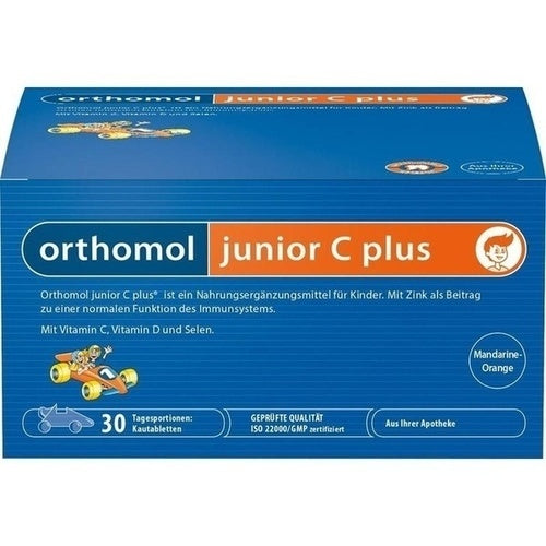 Orthomol Junior Vitamin C Plus Chewable Tab Mandarin Orange 30 days is a Vitamins