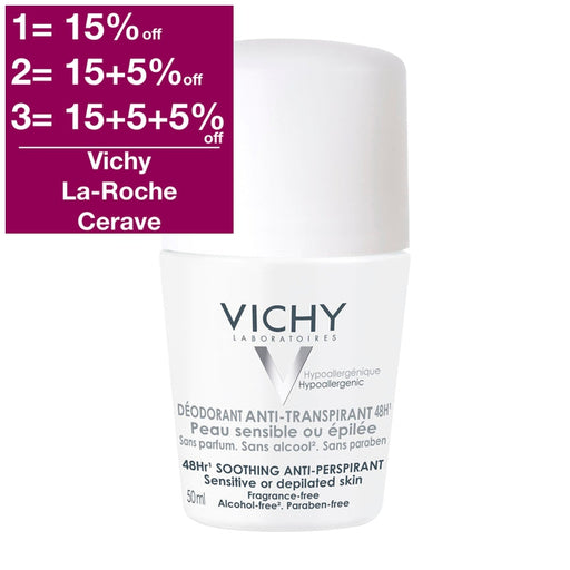 Vichy 48hr Soothing Anti-Perspirant Sensitive Or Depilated Skin 50 ml