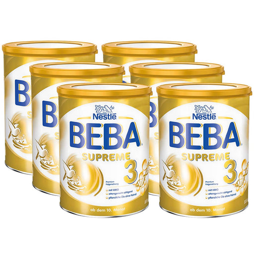 BEBA Supreme 3 Baby Formula Follow on Milk (10+ Months) - Pack of 6 x 800g