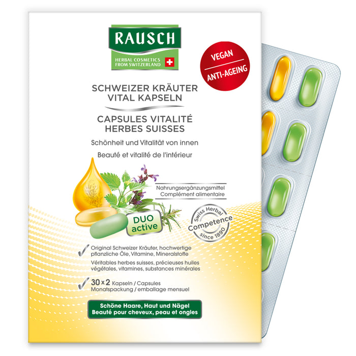 Rausch Swiss Herbal Vitality Capsules (3 Months) is a herbal supplement for hair and beauty from within