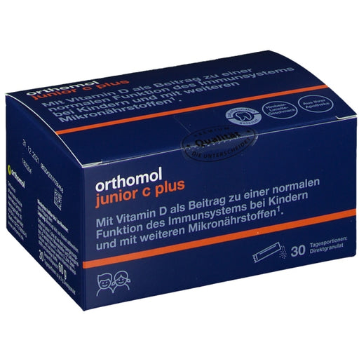 New packaging design - Orthomol Junior Vitamin C Plus Direct Sachets Raspberry Lime - 30 days
