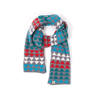 SCARVES - TRI - LAMBSWOOL - Teal / Rust / Main Image -