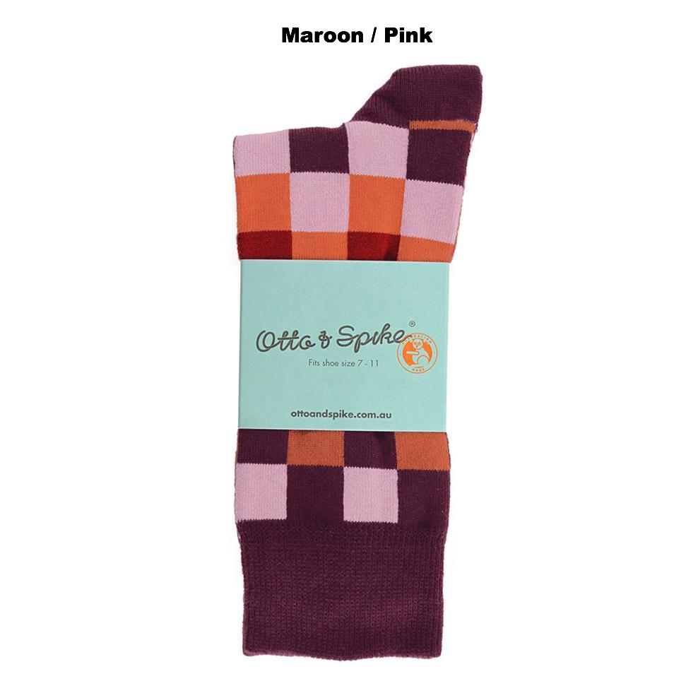 SOCKS - DIFFUSED - AUSTRALIAN COTTON - Maroon / Pink - 2-8