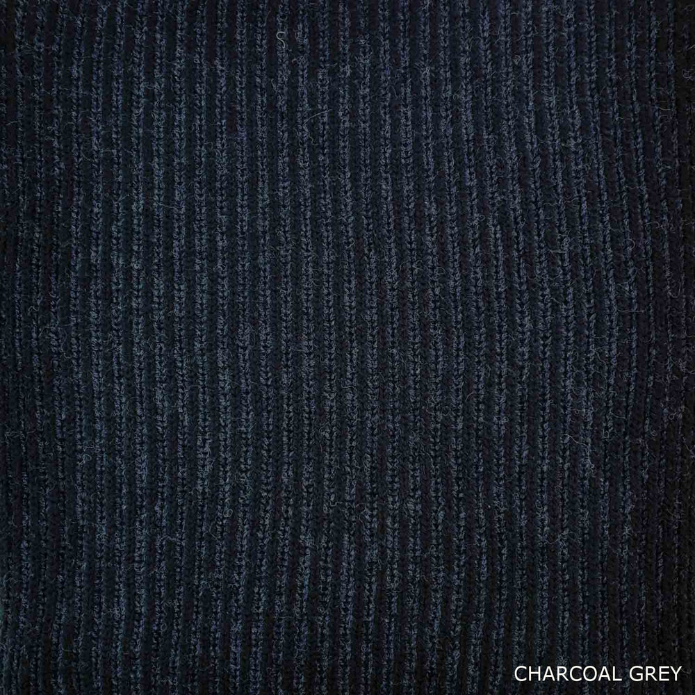 FISHERMAN SCARF - LAMBSWOOL - CHARCOAL GREY -