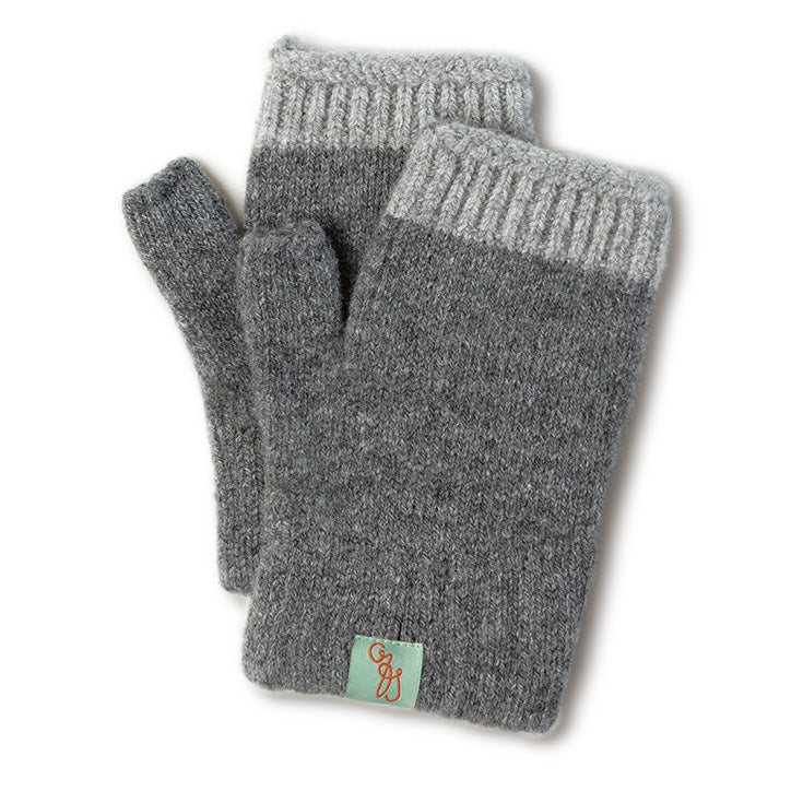 FINGERLESS GLOVES - MITTENS - LAMBSWOOL - Lt Grey Marle / Main Image -
