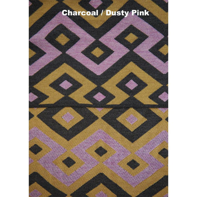BLANKETS - JIGGLE - WOOL BLANKETS - Extra Small - Charcoal / Dusty Pink