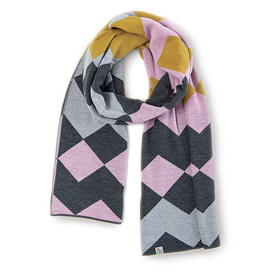 SCARVES - HARLEQUIN - MERINO - Charcoal / Dusty  Pink / Main Image -