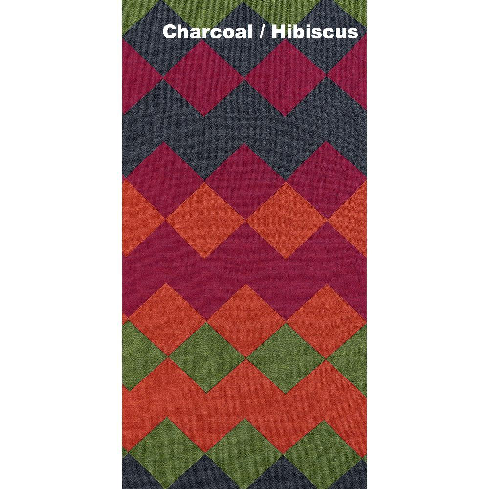 SCARVES - HARLEQUIN - MERINO - Charcoal / Hibiscus Pink -