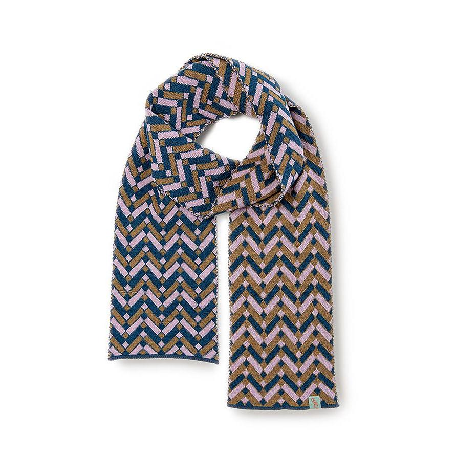 SCARVES - VERONICA - MERINO - French Navy / Dusty Pink / Main Image -