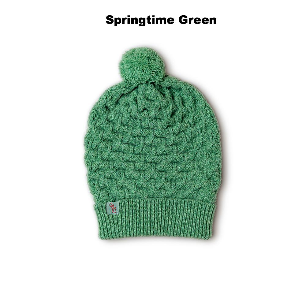 BEANIES FOR WOMEN - LUCKY - LAMBSWOOL - Springtime Green -