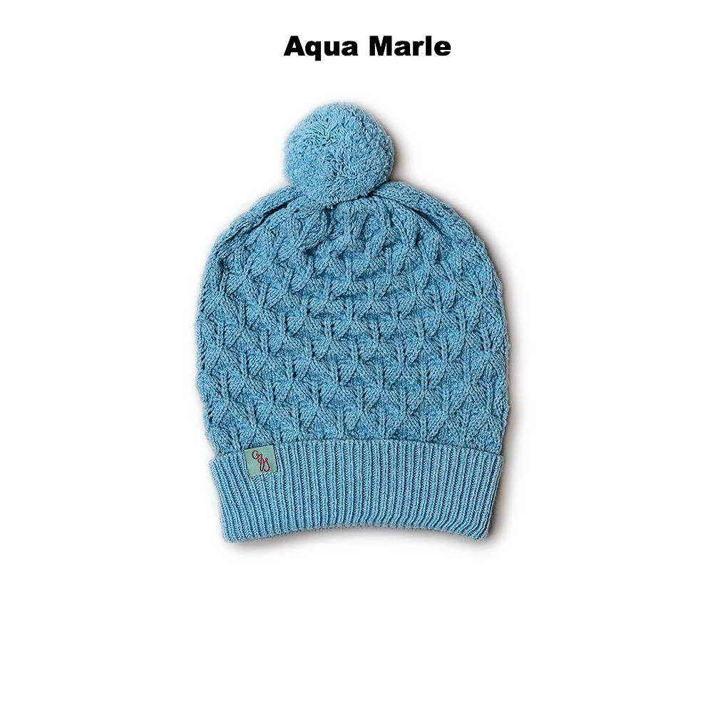 BEANIES FOR WOMEN - LUCKY - LAMBSWOOL - Aqua Marle -