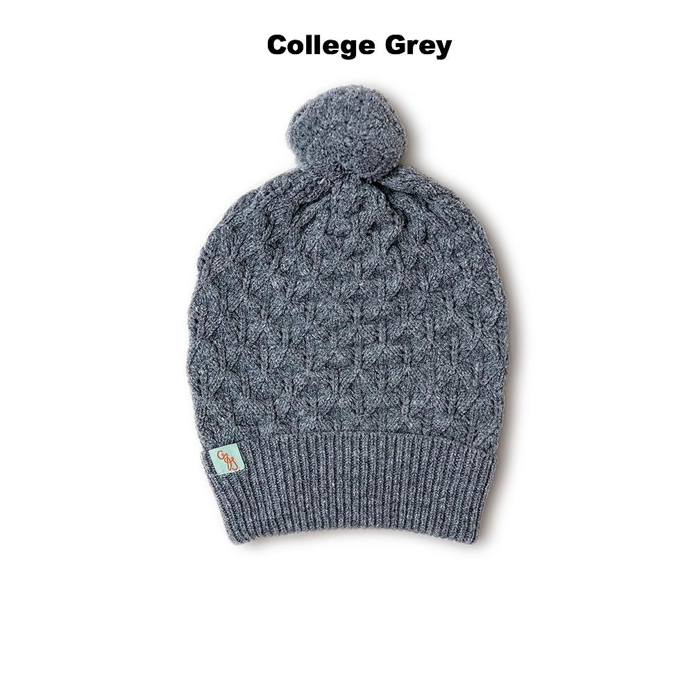 BEANIES FOR WOMEN - LUCKY - LAMBSWOOL - College Grey -