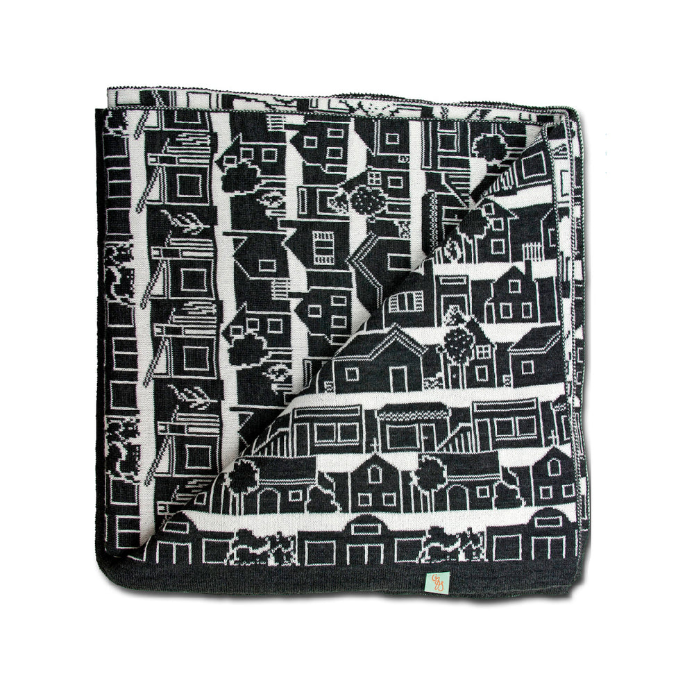 BLANKETS - NEIGHBOURHOOD - THROWS & BLANKETS - Black - Extra Small