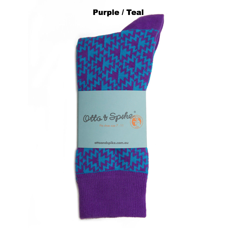 SOCKS - MADMOUSE - AUSTRALIAN COTTON - Purple / Teal - 2-8