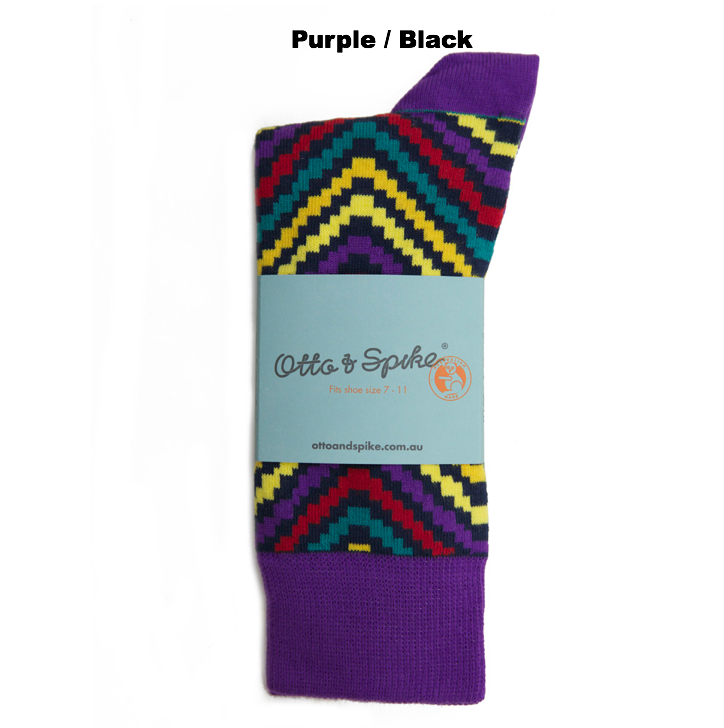 SOCKS - IN & OUT - AUSTRALIAN COTTON - Purple / Black - 2-8