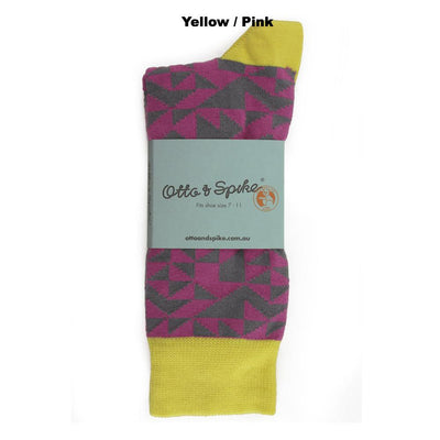 SOCKS - ANNIFIED - AUSTRALIAN COTTON - 2-8 - Yellow / Pink