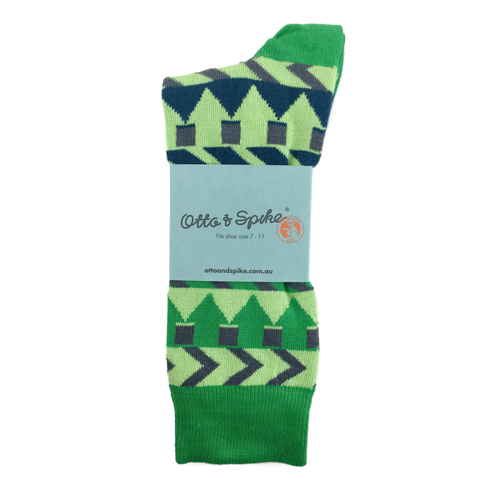 SOCKS - CYNDI - AUSTRALIAN COTTON - Green / Main Image - 2-8