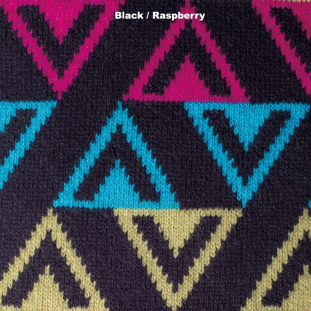 SCARVES - TEE DEE KAY - LAMBSWOOL - Black / Raspberry -