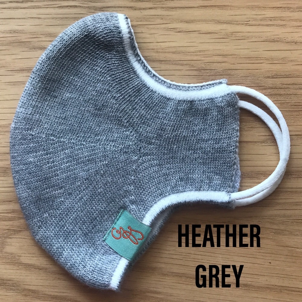 Deluxe Face Mask - REUSABLE - WASHABLE - HEATHER GREY - 1 MASK